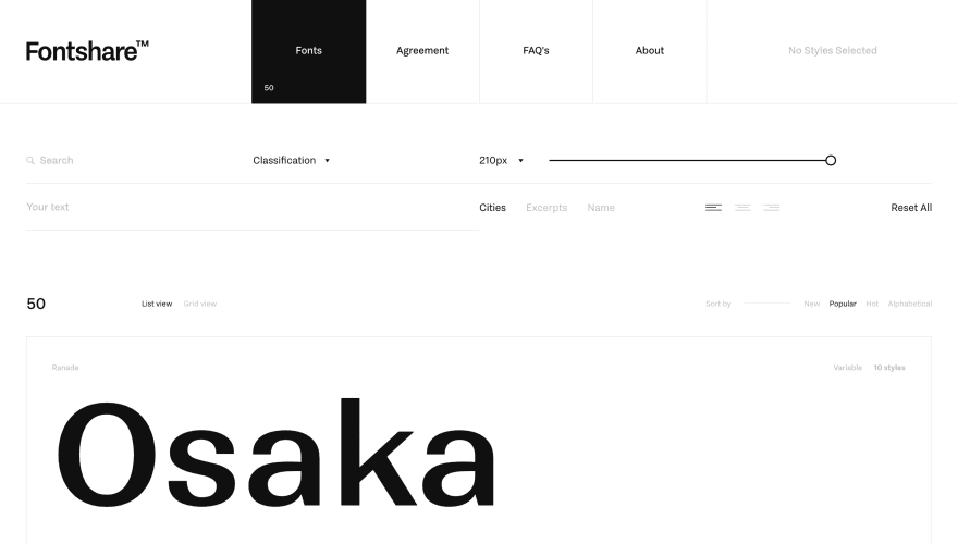 CSS工具:Free Fonts by FontShare